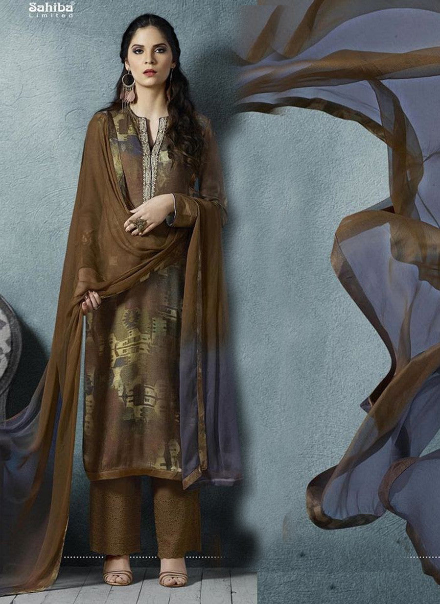 Sahiba 01 Brown Color Cotton Satin Designer Suit
