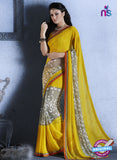 NS10543 Yellow Georgette Casual Saree