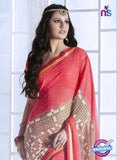 NS10544 Pink and Brown Georgette Casual Saree