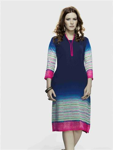 NS11723 B NavyBlue and Magenta Party Wear Lemon Georgette Kurti