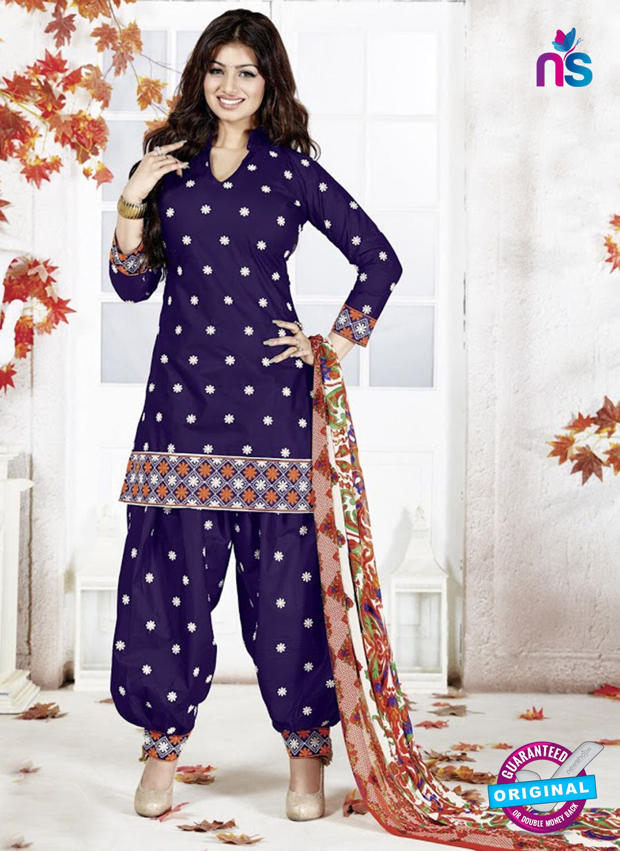 SC 13138 Blue and White Cotton Patiala Suit