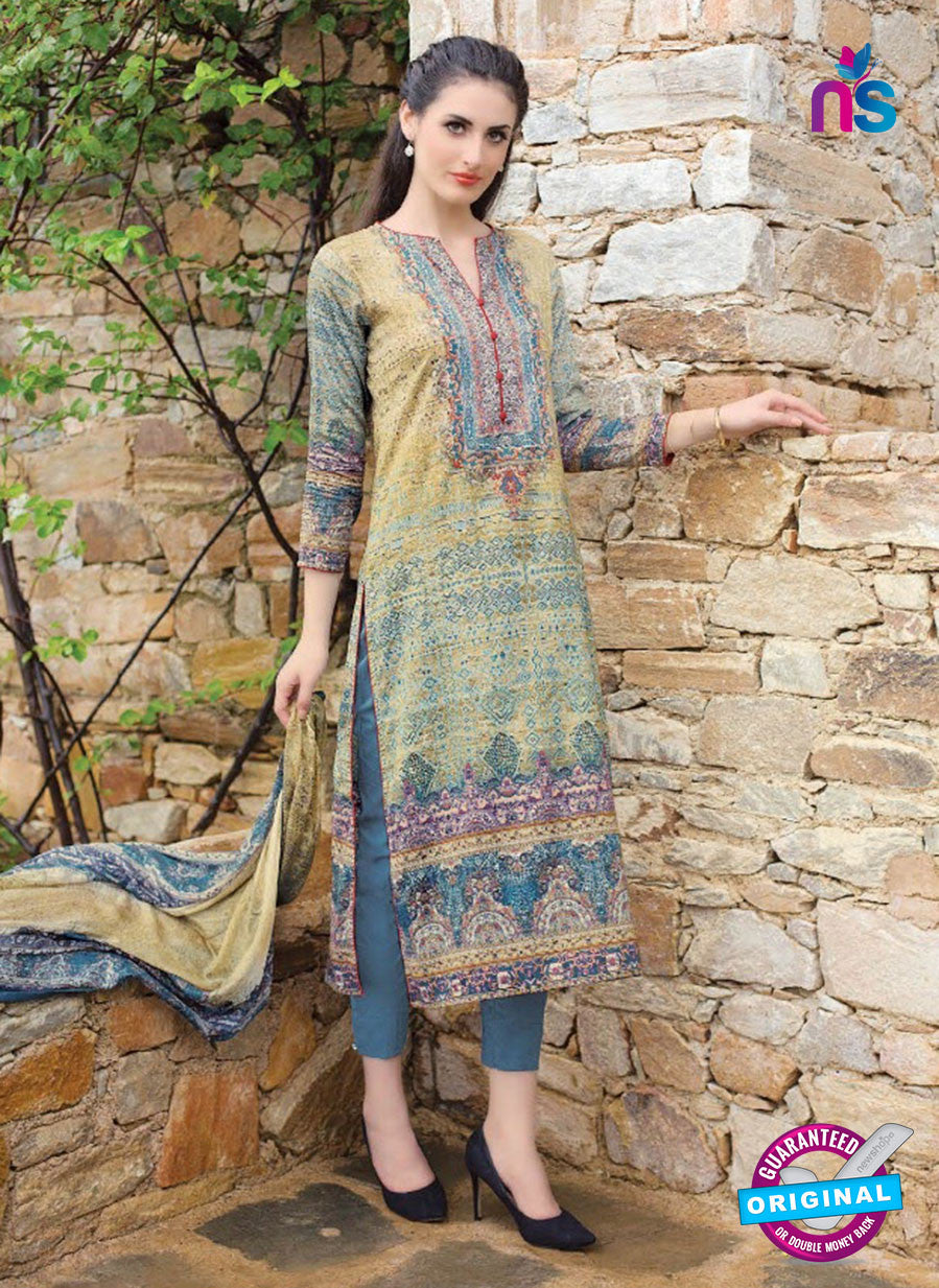 T&M 02 Beige and Blue Cotton Satin Exclusive Fancy Designer Straight Plazo Suit