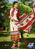 SC 12630 White and Red Heavy Embroidered Lawn Cotton Pakistani Suit