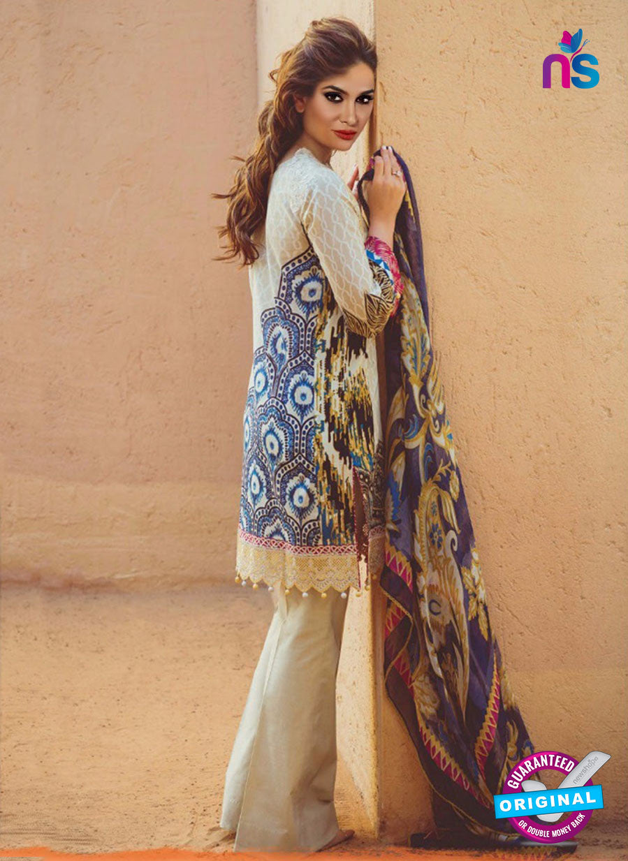 NS 12365 Beige and Multicolor Printed and Embroidered Cambric Suit