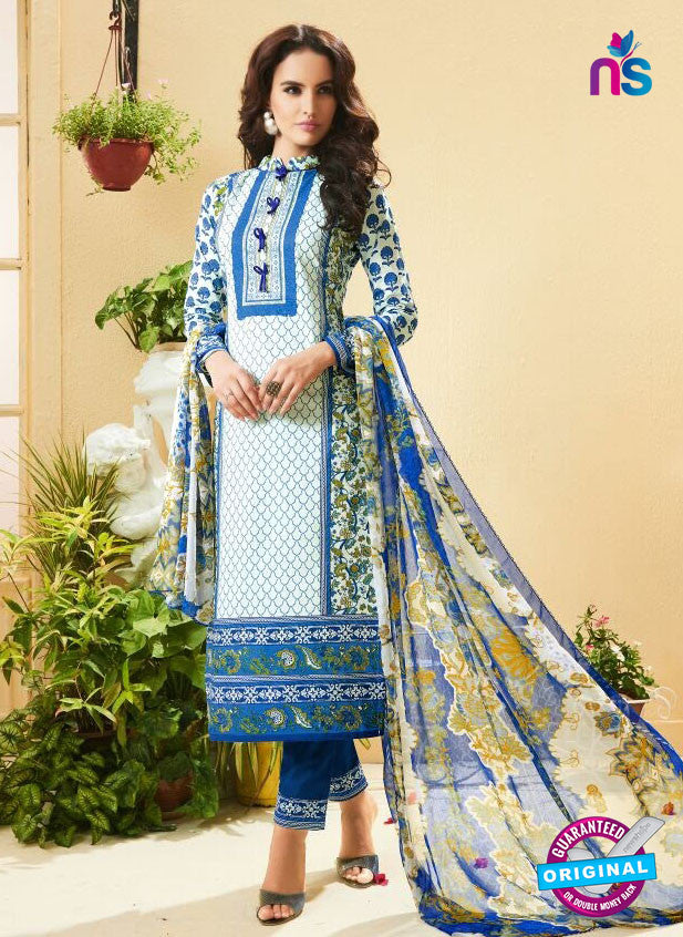 SC 13522 White and Royal Blue Designer Fancy Cambric Suit