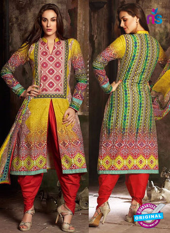 NS 12382 Yellow and Red Printed Pure Lawn Suit