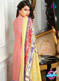 SC 13633 Peach and Multicolor Embroidered Lawn Pakistani Suit