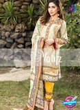 NS 12466 Beige and Yellow Digital Printed Cotton Lawn Party Wear Suit