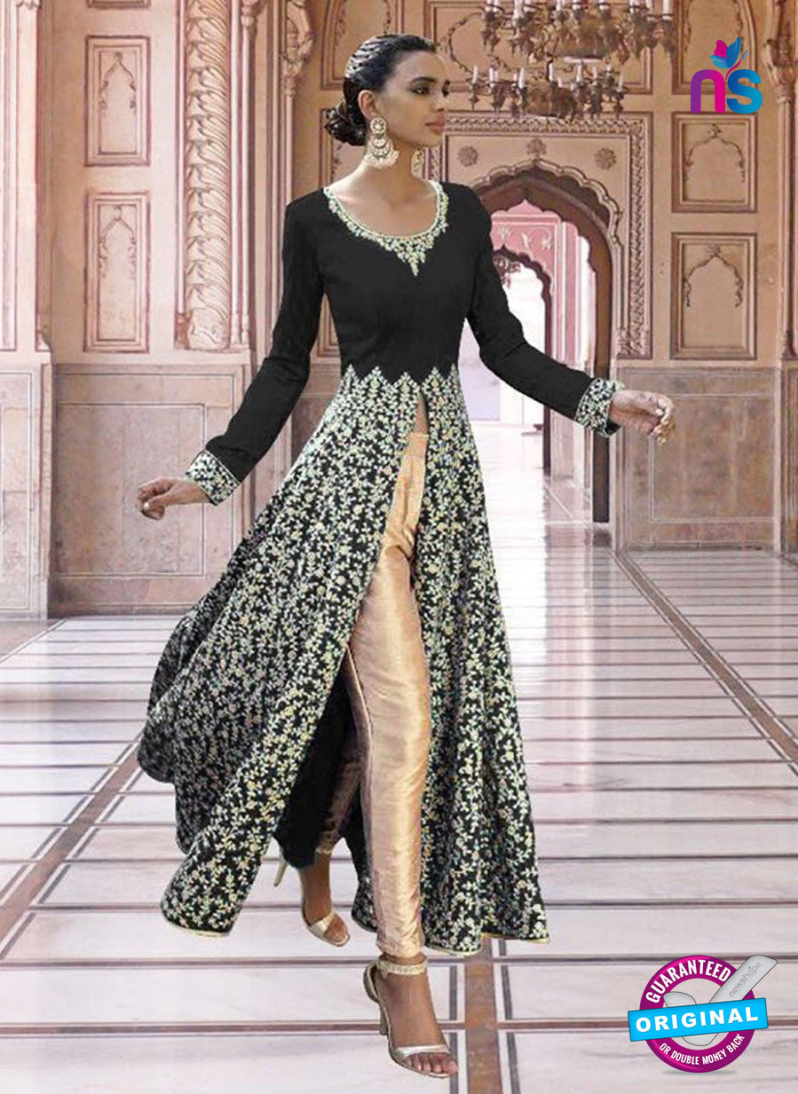 SC 13351 Black and Golden Exclusive Designer Party Wear Designer Suit