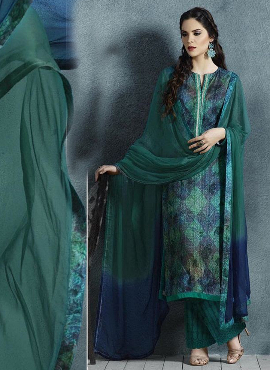 Sahiba 02 Green Color Cotton Satin Designer Suit