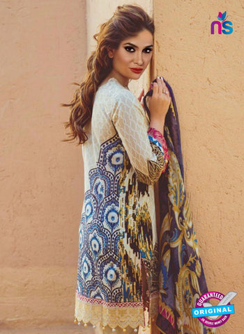 NS 12359 02 Beige and Multicolor Printed Lawn Cotton With Embroidery Party Wear Suit Online