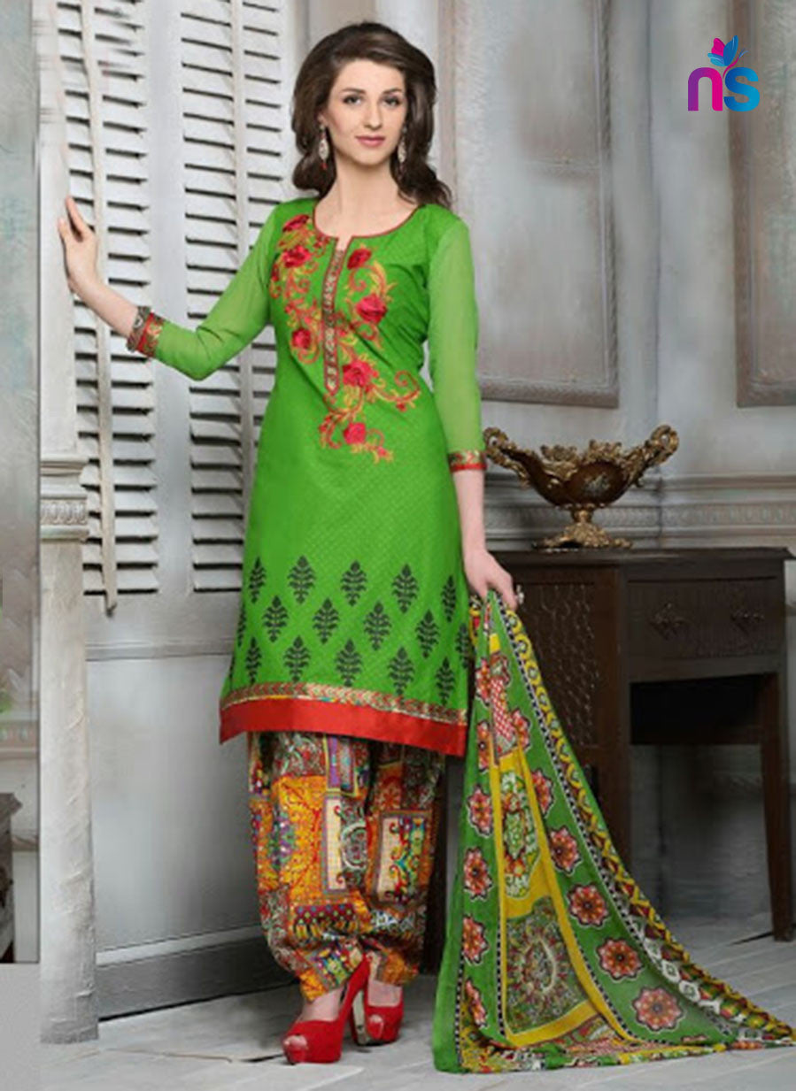 NS11317 ParrotGreen and Multicolor Cotton Jacquard Patiyala Suit
