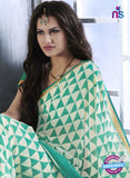 NS10545 Green and Beige Georgette Casual Saree