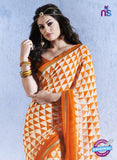 NS10546 Orange and Beige Georgette Casual Saree