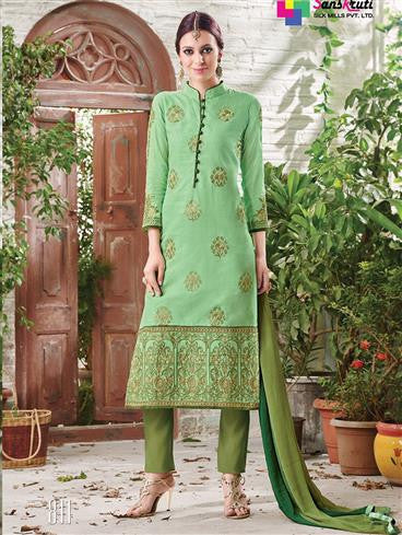 NS11883  Parrot Green and Dark Olive Green Cotton Satin Straight Suit