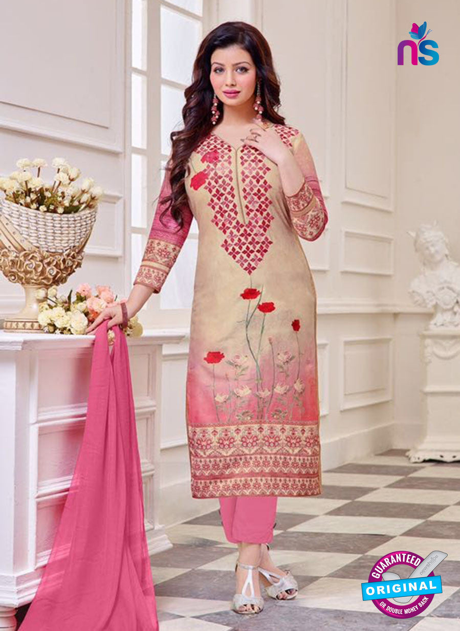 SC 14076 Beige and Pink Cotton Satin Exclusive Fancy Designer Straight Suit