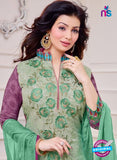 SC 14077 Sea Green and Purple Cotton Satin Exclusive Fancy Designer Straight Suit