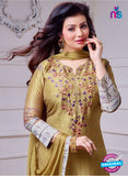SC 14083 Brown Cotton Satin Exclusive Fancy Designer Straight Suit