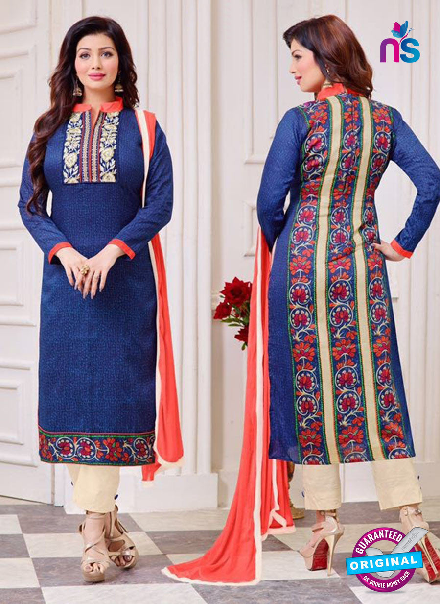 SC 14081 Blue and Beige Cotton Satin Exclusive Fancy Designer Straight Suit