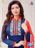 SC 14081 Blue and Beige Cotton Satin Exclusive Fancy Designer Straight Suit Online