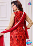 SC 14082 Beige and Red Cotton Satin Exclusive Fancy Designer Straight Suit