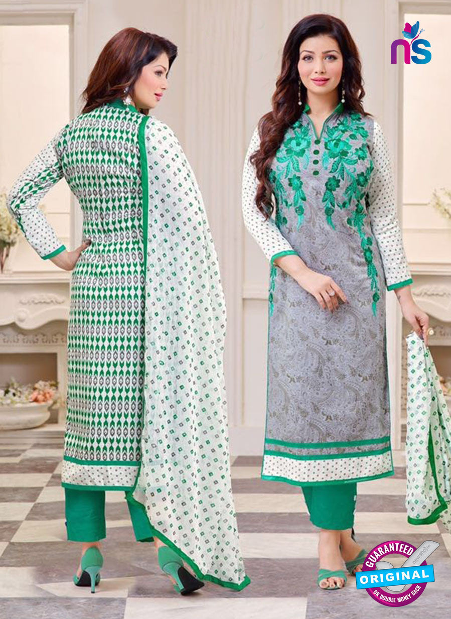 SC 14078 Grey and Green Cotton Satin Exclusive Fancy Designer Straight Suit
