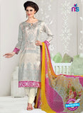 NS11051 Grey and Cream Satin Cotton Designer Straight Salwar Suit