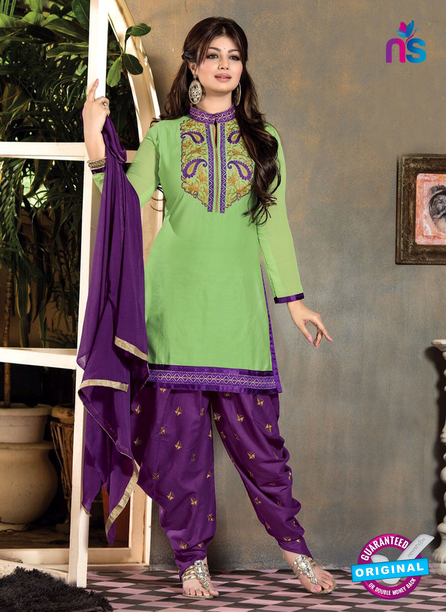 SC 12316 Green and Purple Cotton Patiala Suit