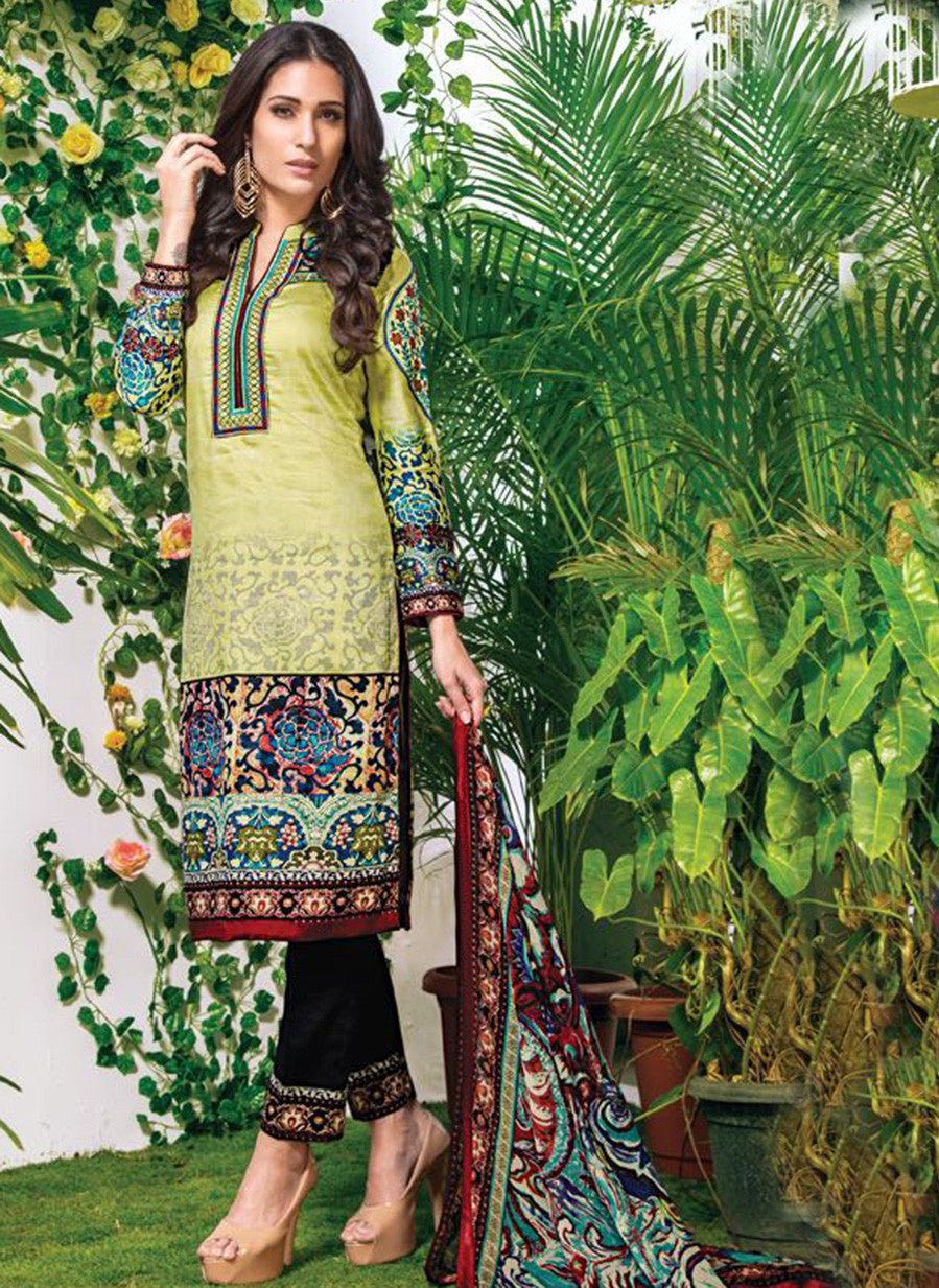 NS10899  Multi Color Satin Cotton Designer Suit