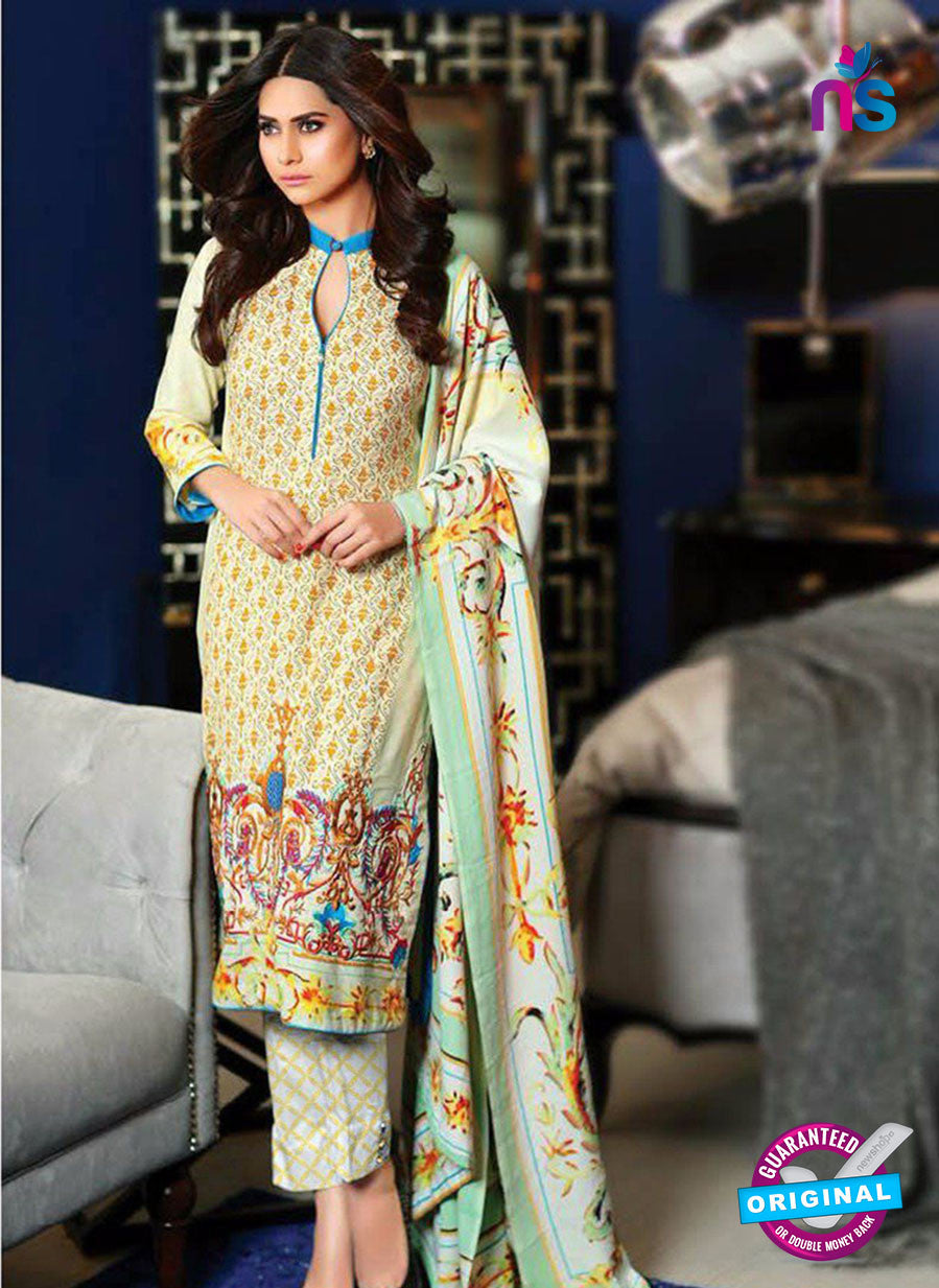 SC 13639 Beige and Multicolor Embroidered Lawn Pakistani Suit