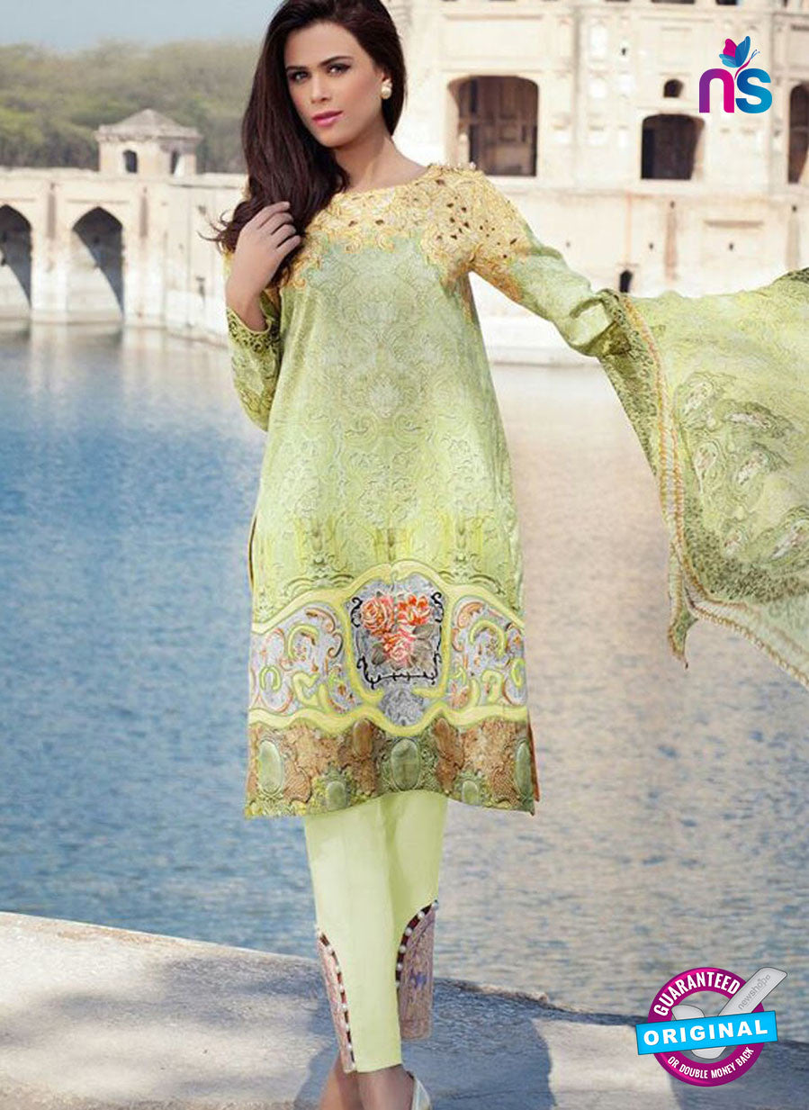 SC 12372 Green and Multicolor Embroidered Patch Pure Lawn Cotton Suit