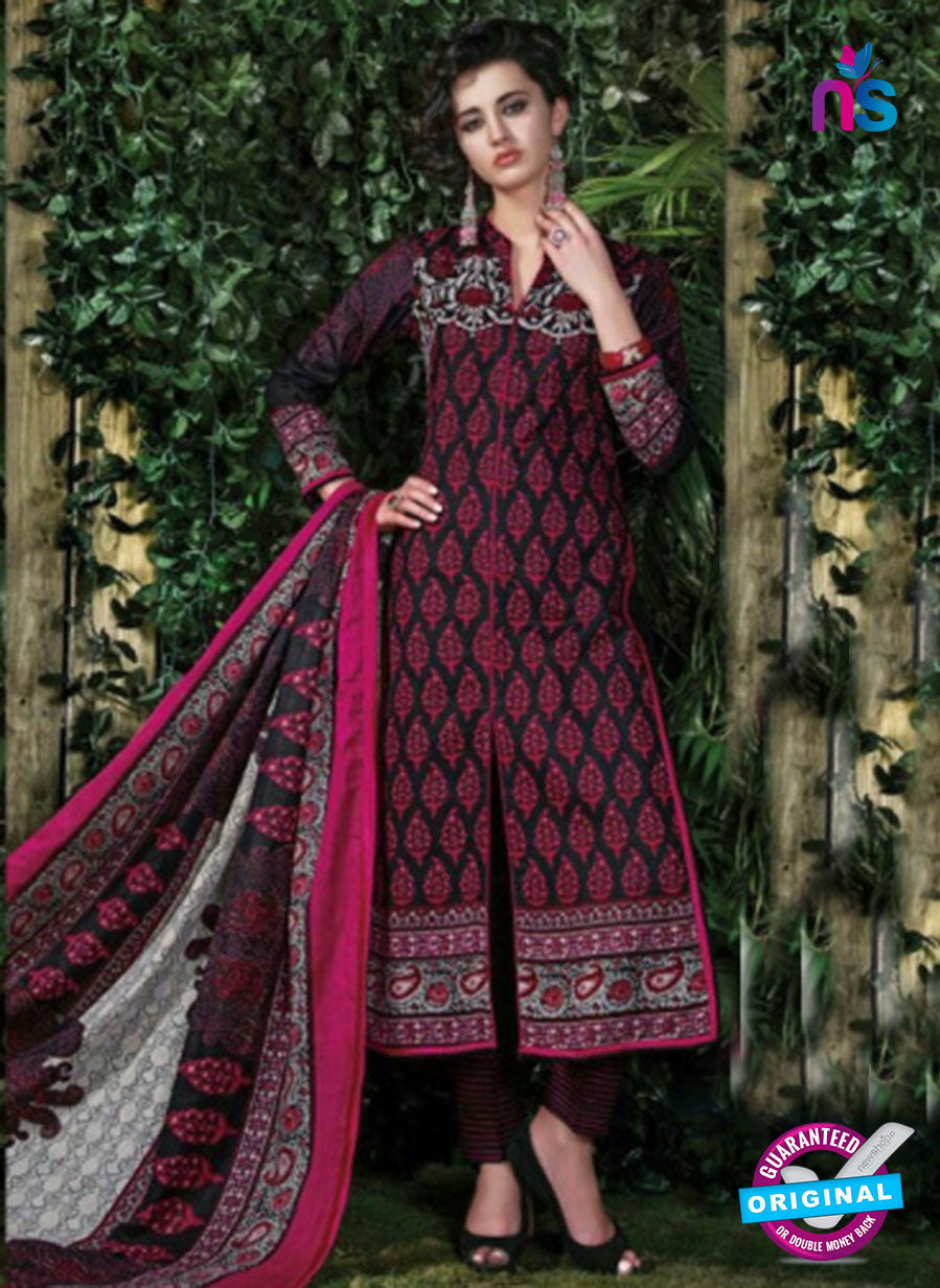 SC 12707 Black and Pink Lawn Straight Suit