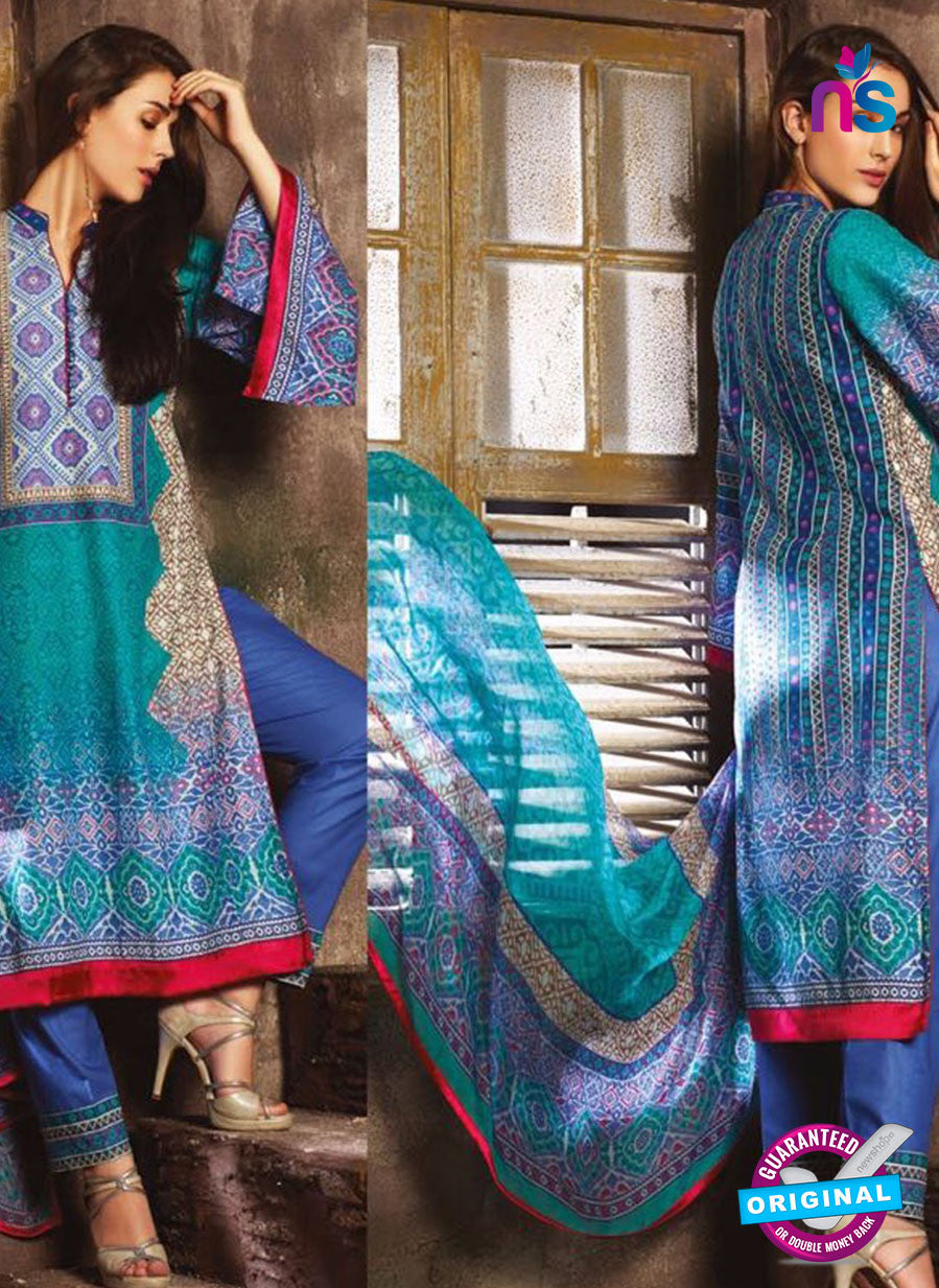 NS 12389 SeaGreen and Blue Printed Pure Lawn Suit