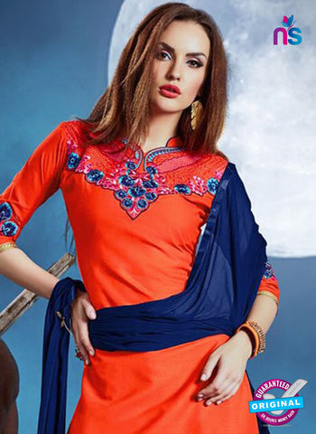 Meghali 03 Orange Cotton Patiala Suit