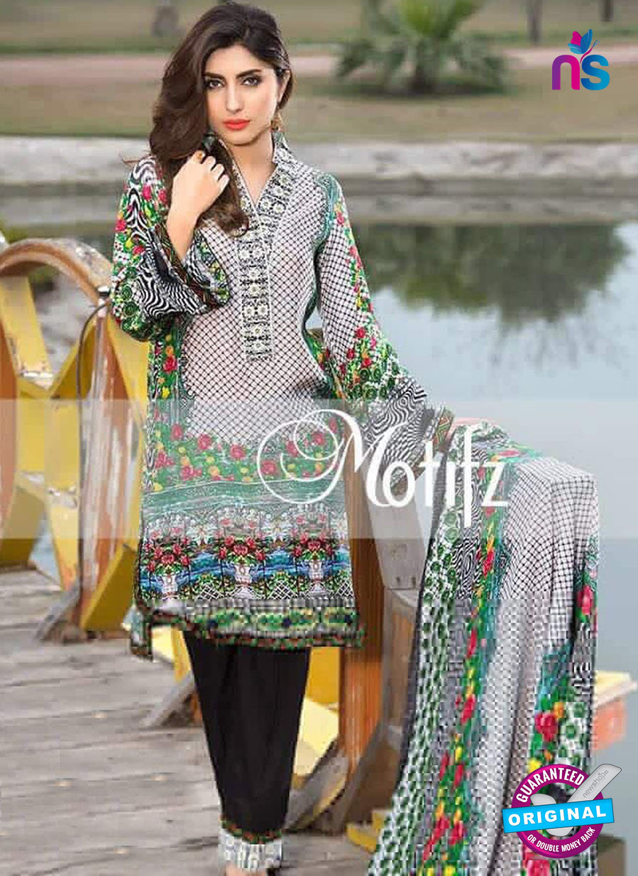 NS 12463 Black and White Digital Printed Cotton Lawn Party Wear Suit