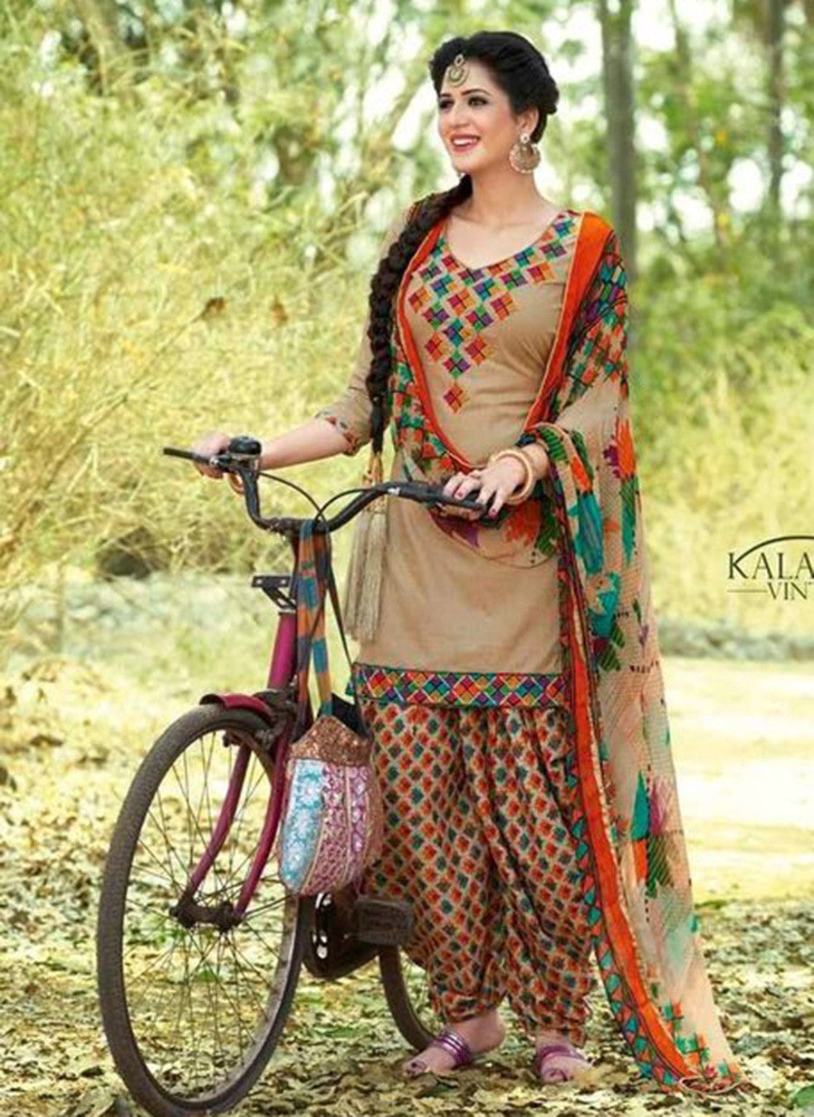 Kalakirti 03 Beige & Orange Color Glace Cotton Designer Suit