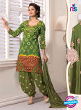 NS11103 Green and Brown Satin Patiala Suit