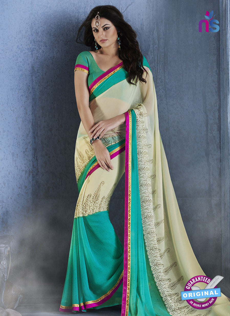 NS10548 Green and Beige Georgette Casual Saree