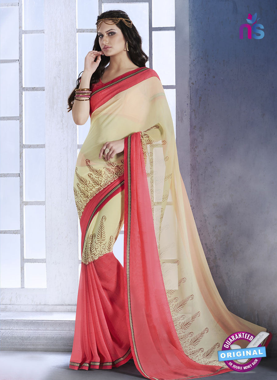 NS10547 Pink and Beige Georgette Party Casual Saree
