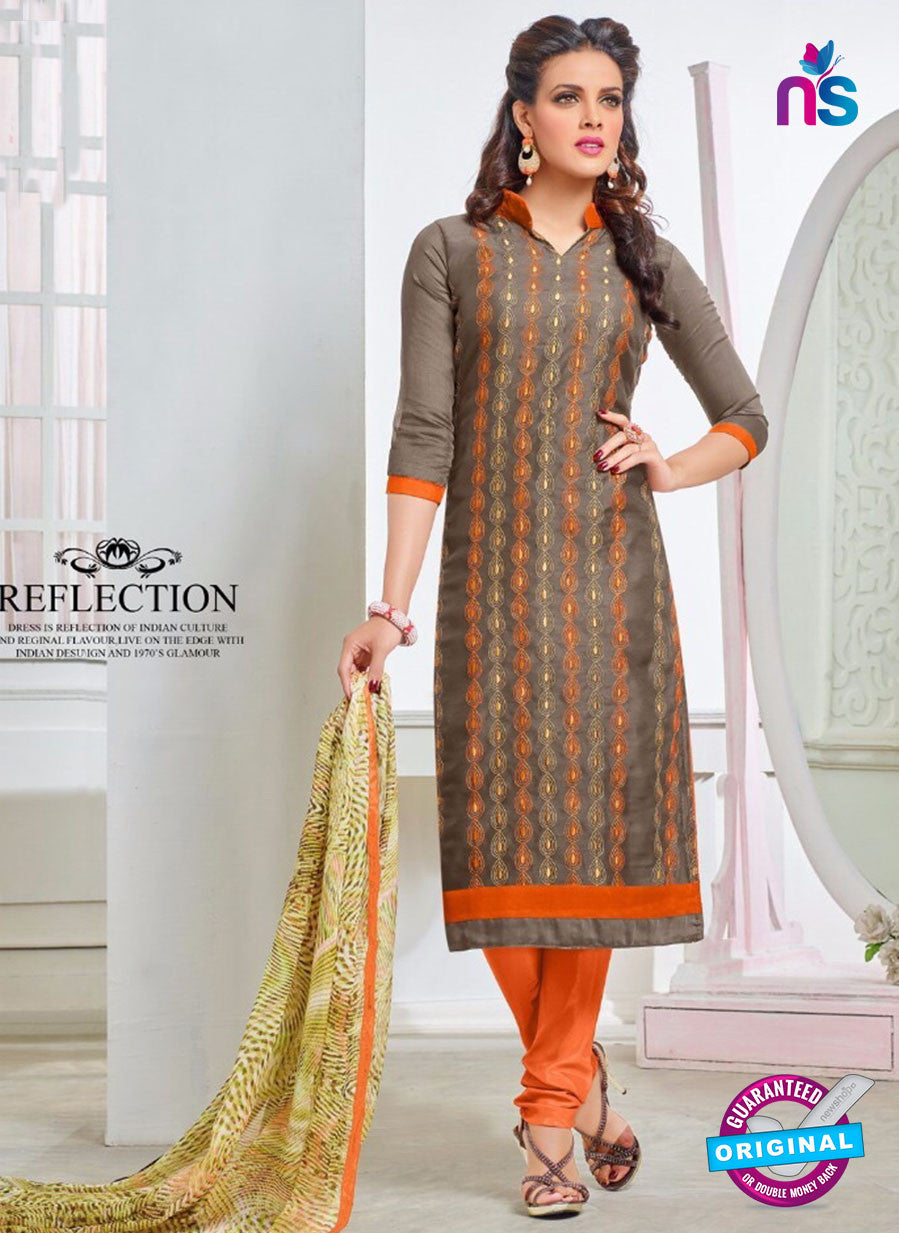 NS10265 Brown and Orange Casual Chanderi Straight Suit