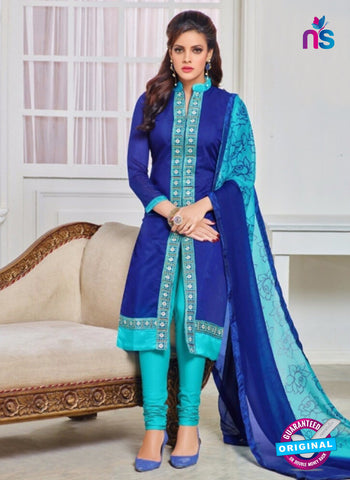 SC 12971 Navy Blue and Sky Blue Chanderi Straight Suit