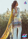 NS 12360 04 White and Yellow Printed Lawn Cotton With Embroidery Party Wear Suit