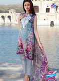 SC 12375 Grey and Multicolor Embroidered Patch Pure Lawn Cotton Suit