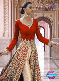 SC 13355 Red and Golden Exclusive Designer Party Wear Designer Suit Online