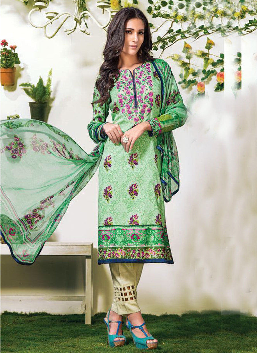 NS10900 Sea Green Color Satin Cotton Designer Suit