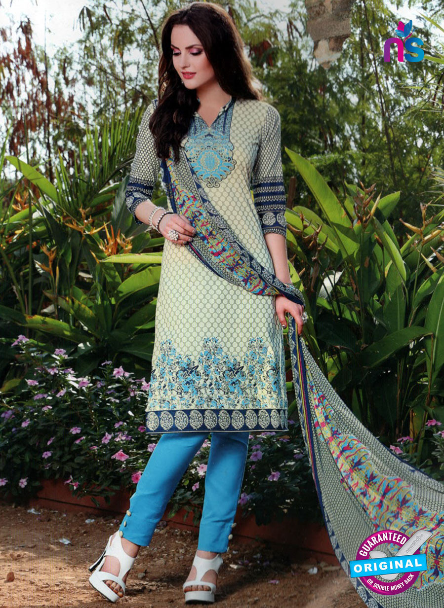 SC 12964 Beige and Blue Printed Pure Cotton Salwar Suit