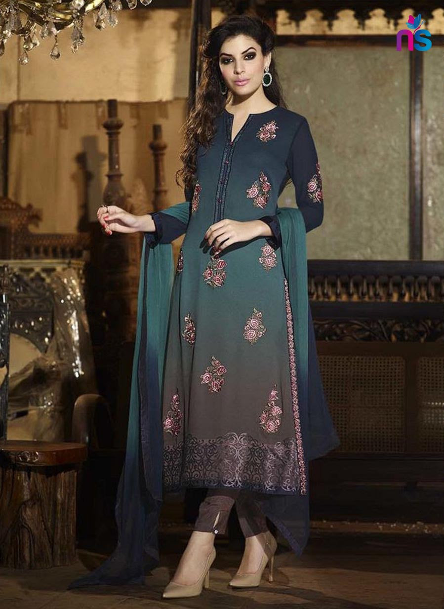 Sahiba 004 Green & Brown Color Georgette Designer Suit