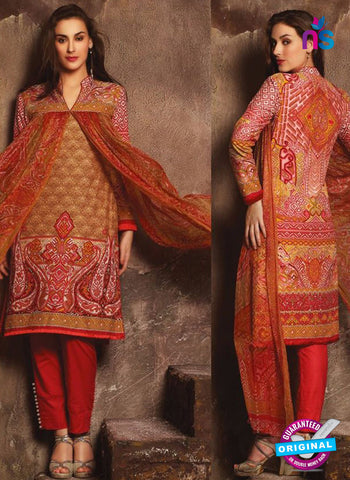 NS 12384 Brown and Red Printed Pure Lawn Suit