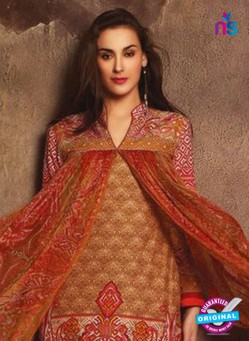 NS 12384 Brown and Red Printed Pure Lawn Suit Online