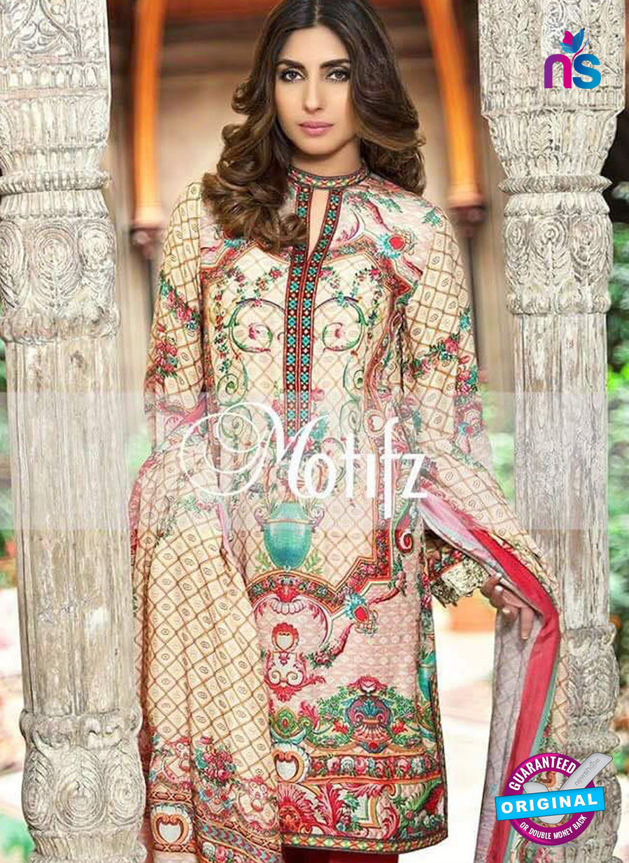 NS 12464 Ivory and Multicolor Digital Printed Cotton Lawn Party Wear Suit